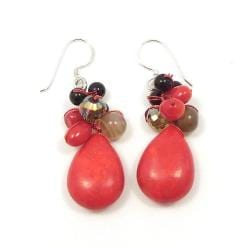 Red Teardrop Sweet Coral Stones Handmade Earrings (Thailand)