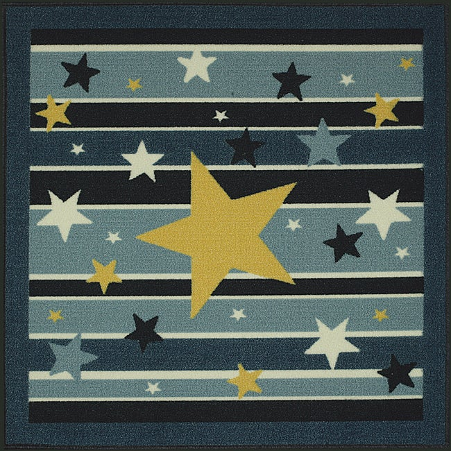 Somette Tufted Blue / Yellow Stars and Stripes Rug (3' x 3')