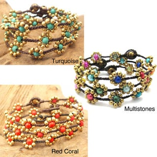 Sweet Flower Brass Beads Bracelet (Thailand)