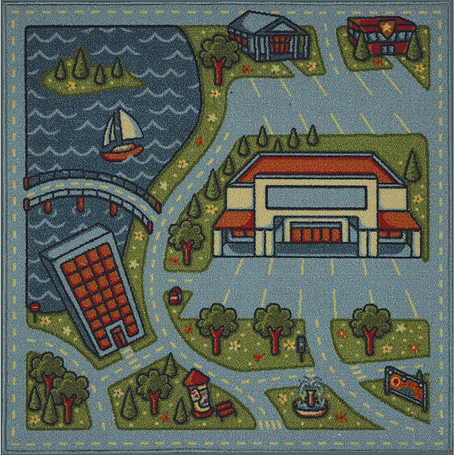 Somette Tufted Lakeside Road Map Rug (3' x 3')