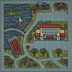 Tufted Lakeside Road Map Rug (3' x 3')