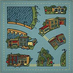 Tufted Riverside Road Map Rug (3' x 3')