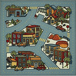 Tufted Light Blue City Road Map Rug (3' x 3')