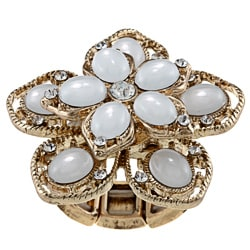 Goldtone Created Moonstone Flower Fashion Ring