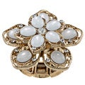 Goldtone Created Moonstone Flower Fashion Ring