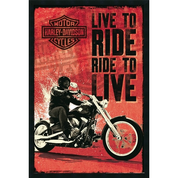Harley Davidson - Live to Ride' Gel Coated Finished Framed Art Print