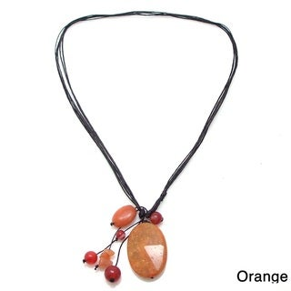 Orange Teardrop Agate Pendant Necklace (Thailand)