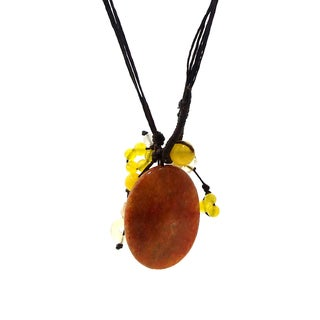 Yellow Teardrop Agate Pendant Necklace (Thailand)
