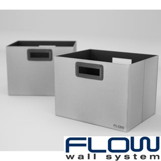 Flow Wall Decor Jumbo Collapsible Platinum Storage Bins (Set of 2)