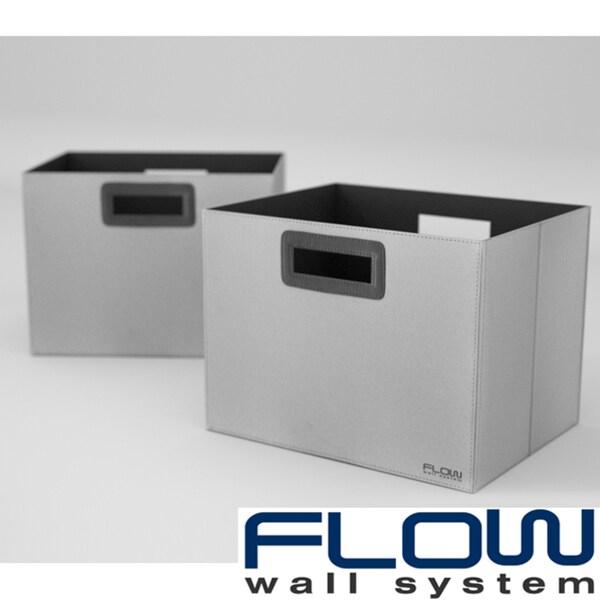 Flow Wall Decor Jumbo Collapsible Platinum Storage Bins (Set of 2)