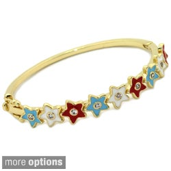 18k Gold Overlay Children's Cubic Zirconia and Enamel Bangle Bracelet