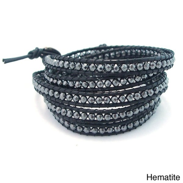 Leather Gemstone Facets Wrap Bracelet (Thailand)