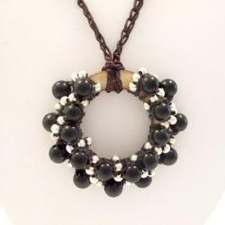 Moon Cluster Black Onyx-Silver Beads Accents Cotton Rope Necklace (Thailand)