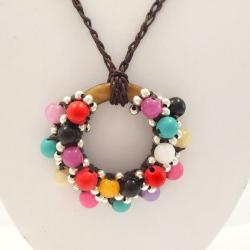Moon Cluster Multi Gems-Silver Beads Accents Cotton Rope Necklace (Thailand)