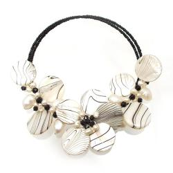Charming Zebra Pattern Mother of Pearl Choker/Necklace (Thailand)
