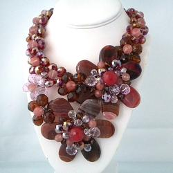 Stunning Cherry Mix Agate Flower Statement Necklace (Thailand)