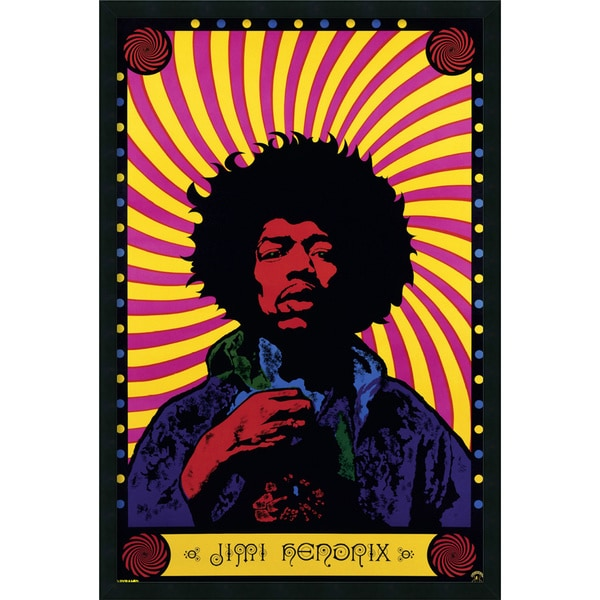 Jimi Hendrix - Psychedelic' Framed Art Print with Gel Coated Finish