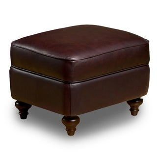 Seville Leather Storage Ottoman in Vintage Burgundy