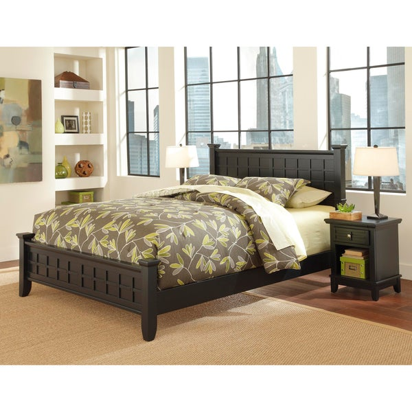 Home Styles Arts and Crafts Black Queen Bed and Night Stand