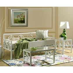Greek Key Marshmallow White Twin Daybed
