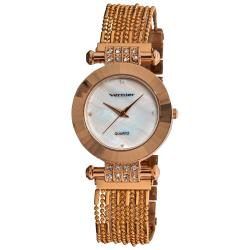 Vernier Women's Rose-tone Elegant Chain Bracelet Watch