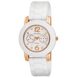 Vernier Women's White Silicone Rose Highlights Watch