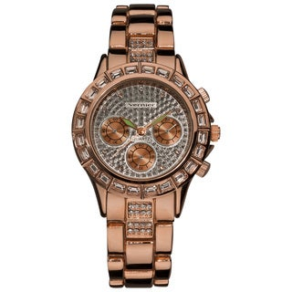 Vernier Women's Rose-tone Mix Glitz Faux Chrono Watch