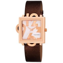 Square Rose-tone Case w/ Oversized Numerals Watch