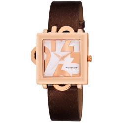 Vernier Women's Square Rose-tone Case w/ Oversized Numerals Watch