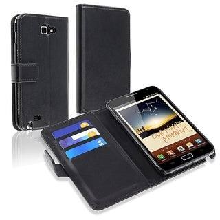 INSTEN Black Leather Card Wallet Phone Case Cover for Samsung Galaxy Note N7000