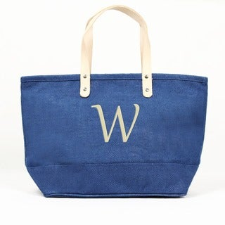 Personalized Blue Nantucket Jute Tote