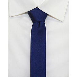 H. Luzzario and Co Navy Blue Silk Slim Tie