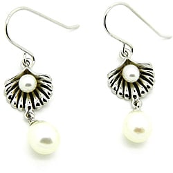 Pearlz Ocean Sterling Silver White FW Pearl Dangle Earrings (4-8 mm)