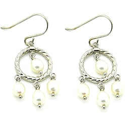 Pearlz Ocean Sterling Silver White FW Pearl Dangle Earrings (4-6 mm)