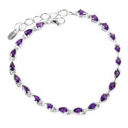 De Buman Sterling Silver Amethyst Bracelet