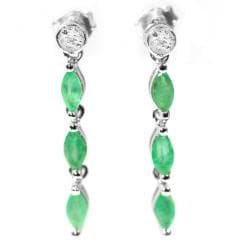 De Buman Sterling Silver Emerald and Diamond Accent Earrings