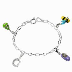 De Buman Sterling Silver Enamel Babyshoe and Bee Charm Bracelet