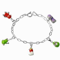 De Buman Sterling Silver Enamel Frog and Gourd Charm Bracelet