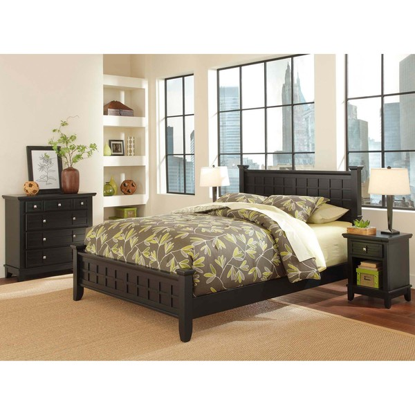 Arts and crafts black 3 piece queen size bedroom set for 3 piece queen size bedroom set
