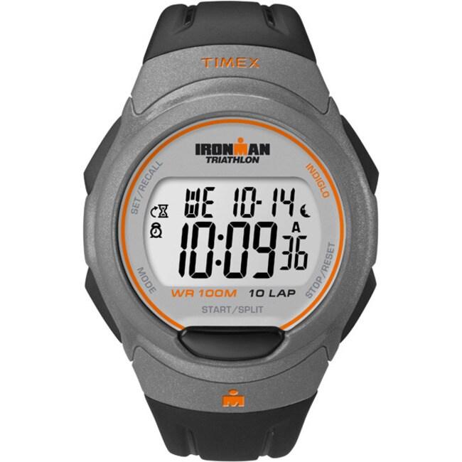 Timex Men's T5K607 Ironman Traditional 10-Lap Black/Orange Watch at Sears.com