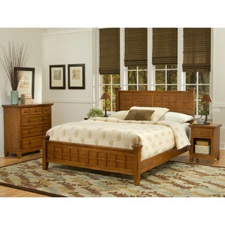 Arts crafts cottage oak 3 piece queen size bedroom set for 3 piece queen size bedroom set