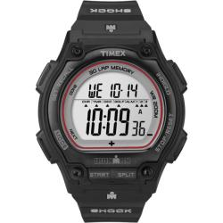 Timex Men's T5K584 Ironman Traditional Shock 30-Lap Black/Silvertone/Red Watch