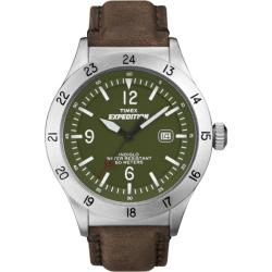 Timex Men's T49881 Expedition Military Field Green Dial Brown Leather Strap Watch