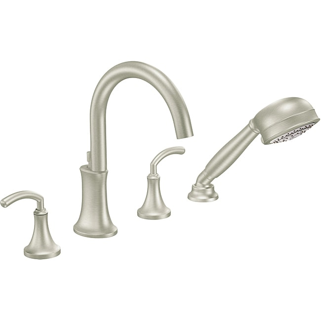 two handle high arc roman tub brushed nickel faucet with hand shower