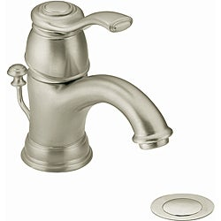 Moen 6102BN Kingsley One-Handle Bathroom Faucet with Drain Assembly Brushed Nickel