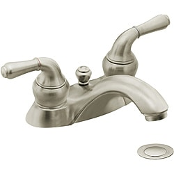 Moen 4551BN Monticello Two-Handle Bathroom Faucet with Drain Assembly Brushed Nickel