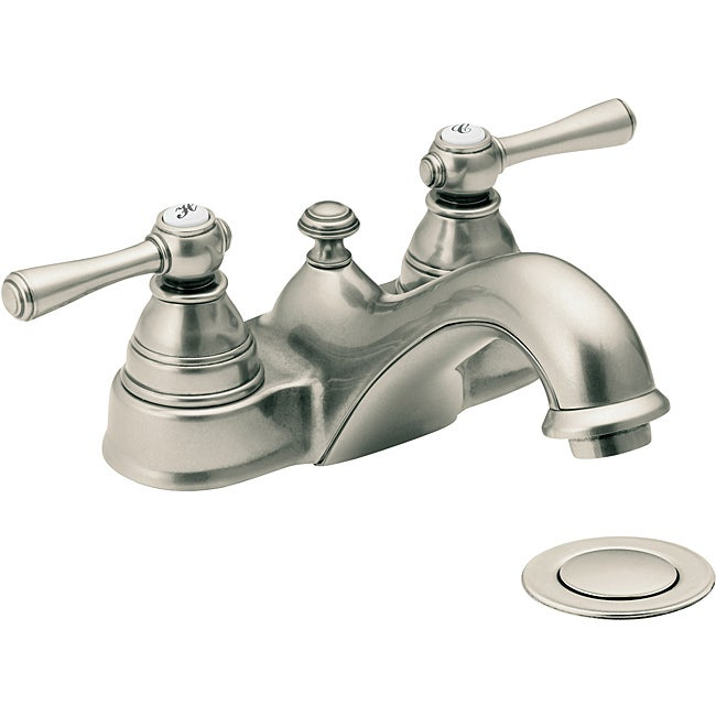 Moen 6101AN Kingsley Two-Handle Bathroom Faucet with Drain Assembly Antique Nickel