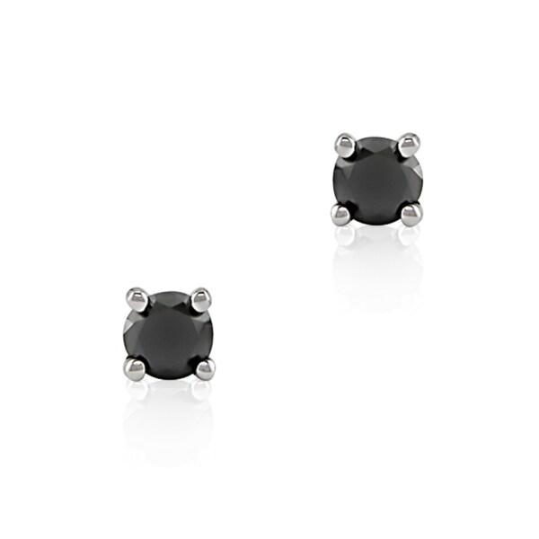 Haylee Jewels 14k White Gold 1/10ct TDW Black Diamond Stud Earrings