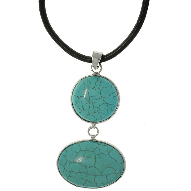Carolina Glamour Collection Silvertone Blue Magnesite Double Stone Necklace
