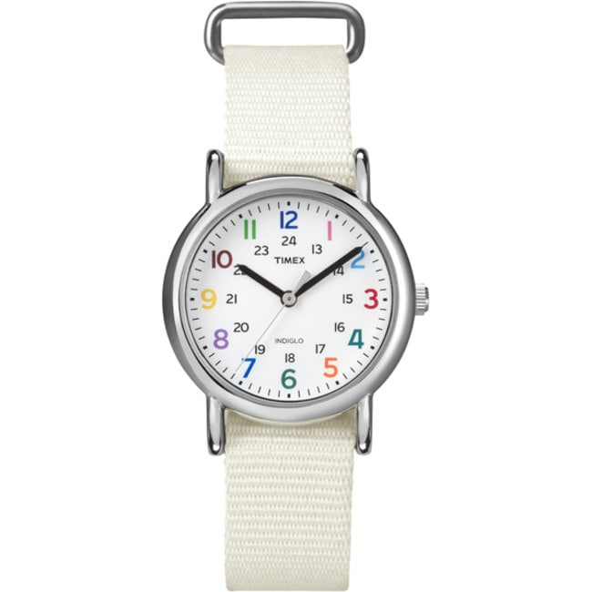Timex Women's T2N8379J Weekender Slip Thru White Nylon Strap Watch